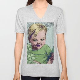 Babies Blue Unisex V-Neck