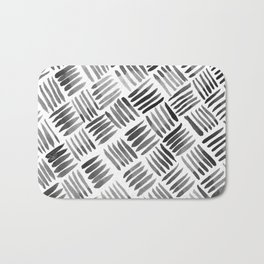 Hand Painted Classic Basketweave Pattern Black and White Bath Mat