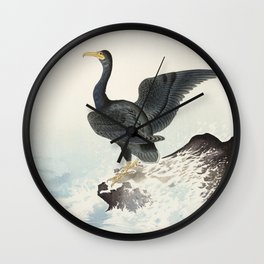 Cormorants at stormy sea - Japanese vintage woodblock print Wall Clock