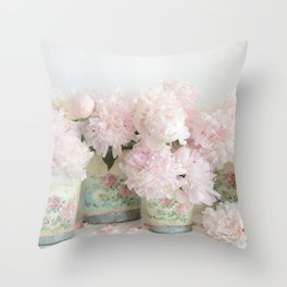 Shabby Chic Dreamy Pastel Peonies Floral Home Decor Throw Pillow