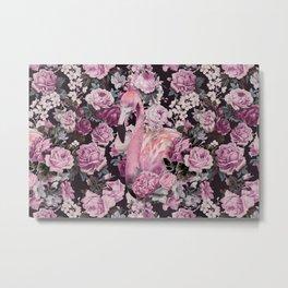 Pink Vintage Roses And Flamingo Metal Print