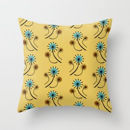Mid Century Modern Dandelions on yellow Throw Pillow