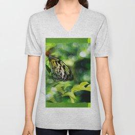 Green Butterfly Unisex V-Neck