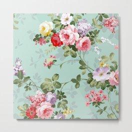 Elegant chic pink green roses flowers pattern Metal Print