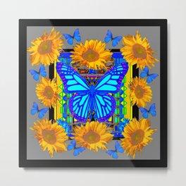 Black Grey Sunflowers Blue Butterflies Pattern Metal Print