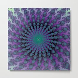 Cool Hued Purple Blue Braided Rug Fractal Metal Print
