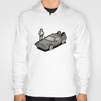 delorean Hoodies featuring Stormtrooper and his Delorean by Vin Zzep