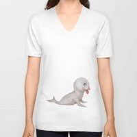 seal V-neck T-shirts featuring Seal by Joey Wall