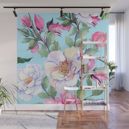 Chic, Elegance Floral Print on Pastel Blue Background Wall Mural