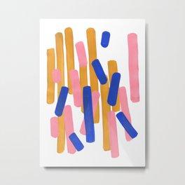 Colorful Minimalist Mid Century Modern Shapes Pink Ultramarine Blue Yellow Ochre Confetti Metal Print