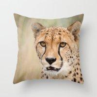 cheetah Throw Pillows featuring Cheetah by Simon's Photography
