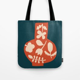 Floral Vase | Blue, Red, + Peach Tote Bag