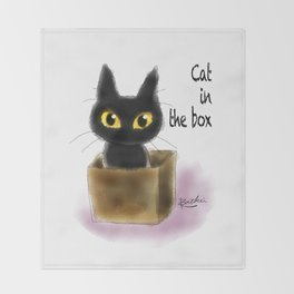 Cat in the box Throw Blanket