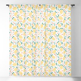 Summer Lemons with Pink Blossoms Blackout Curtain