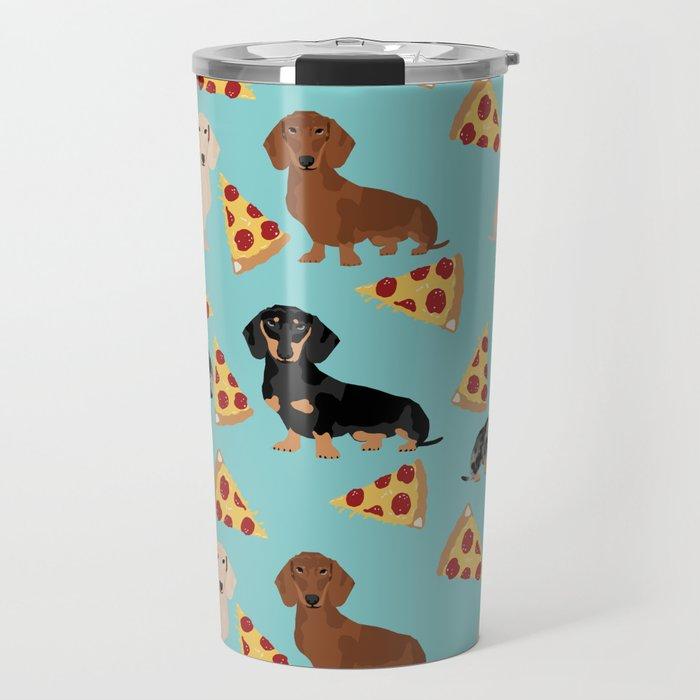 dachshund pizza multi coat doxie dog breed cute pattern gifts Travel Mug