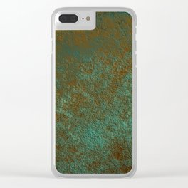 Green Patina Copper rustic decor Clear iPhone Case
