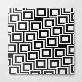 Black and White Squares Pattern 02 Metal Print