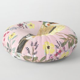 Goldfinch bird with floral crown Floor Pillow