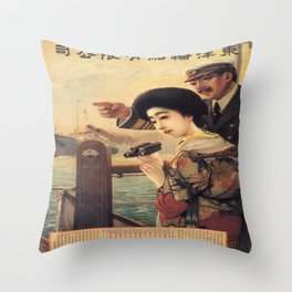 Vintage poster - Oriental Steamship Throw Pillow