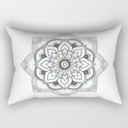 hand drawing geometric mandala with turquoise ink Rectangular Pillow