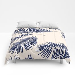 Blue Palm Leaves x Dry Brush Comforters