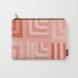 Painted Color Block Squares in Peach Carry-All Pouch