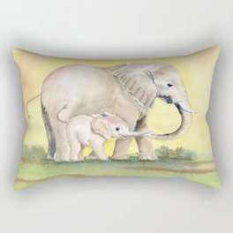 Colorful Mom and Baby Elephant 2 Rectangular Pillow