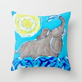 Baby Elephant Playing in the Water Throw Pillow