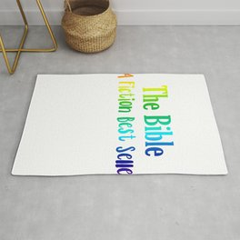 (tshirt) The bible a fiction best seller (vertical rainbow) Rug