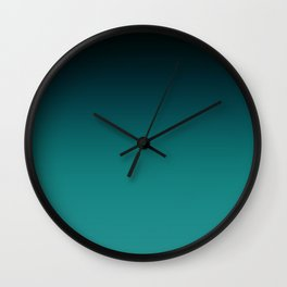 Black and turquoise Ombre . Wall Clock