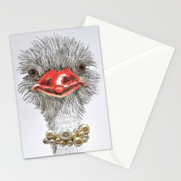 Ostrich with double pearls Stationery Cards