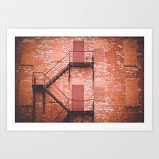 red brick, fire escape Art Print