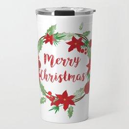Lovely Merry Christmas Wreath Travel Mug