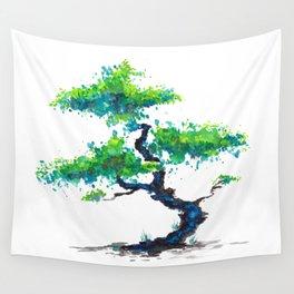Blue Bonsai Wall Tapestry