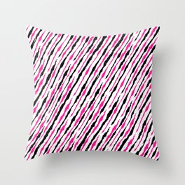 Pink and Black Pattern Throw Pillow
