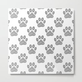 Tribal Ink Dog Paw Pattern In Black Metal Print