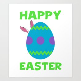 Happy Easter With Colorfull Egg And Bunny Ears Cool Art Print