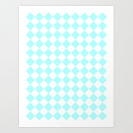 Diamonds - White and Celeste Cyan Art Print