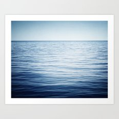 Blue Ocean Seascape, Dark Blue Sea Landscape Photography, Ocean Horizon Art Print
