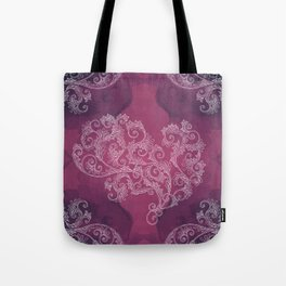 Burgundy with white floral ornament Tote Bag