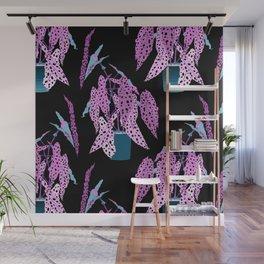Simple Potted Polka Dot Begonia Plants in Black + Magenta Wall Mural