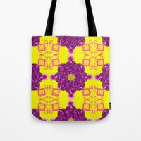 psychadelic Tote Bags featuring Psychadelic Flora by Cynthia Squire