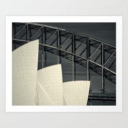 Opera House & Harbour Bridge, Study 3, Sydney, NSW, Australia 2015 Art Print