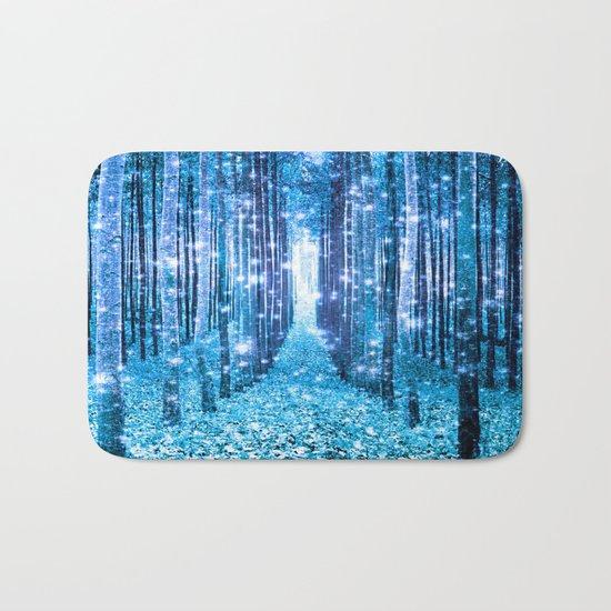 Magical Forest  Light Blue Turquoise Bath Mat