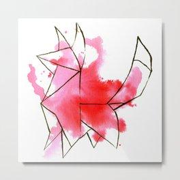 Origami: Fox (pink) Metal Print