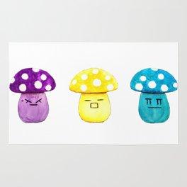 funny cute mushroom watercolor painting Rug