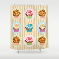cupcakes Shower Curtains featuring Cupcakes by Xiao Twins