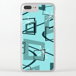 Mid Century Modern Minimalism Turquoise Clear iPhone Case