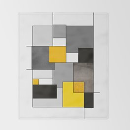 Black Yellow and Gray Geometric Art Throw Blanket