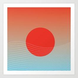 Red sun & white waves Art Print